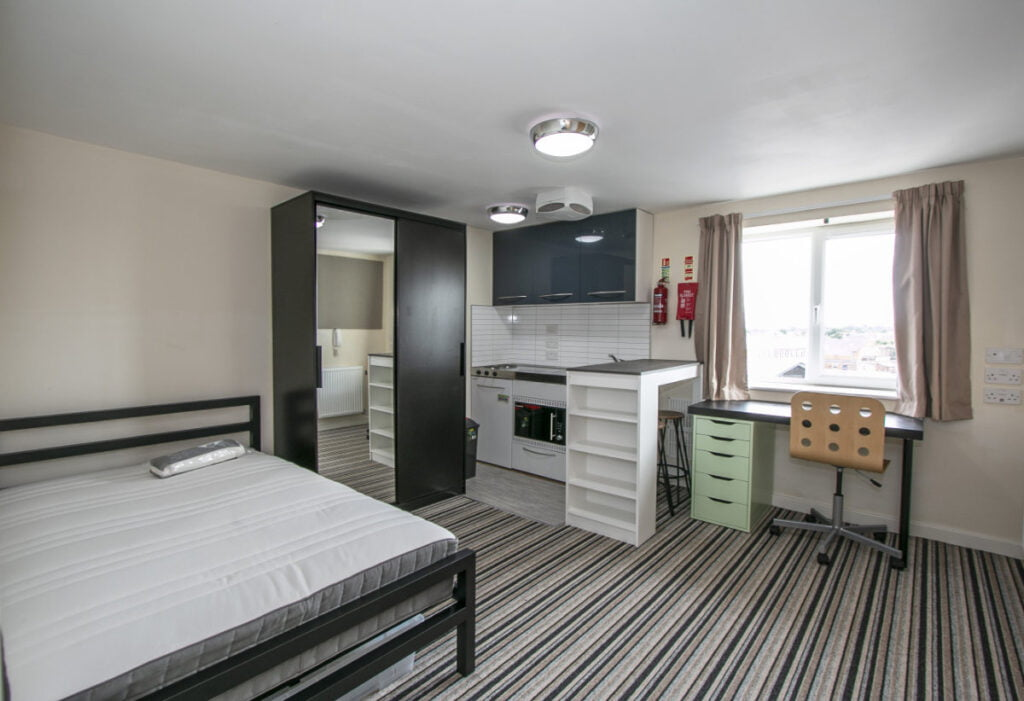 Typical studio in Winton Halls student accommodation and flats