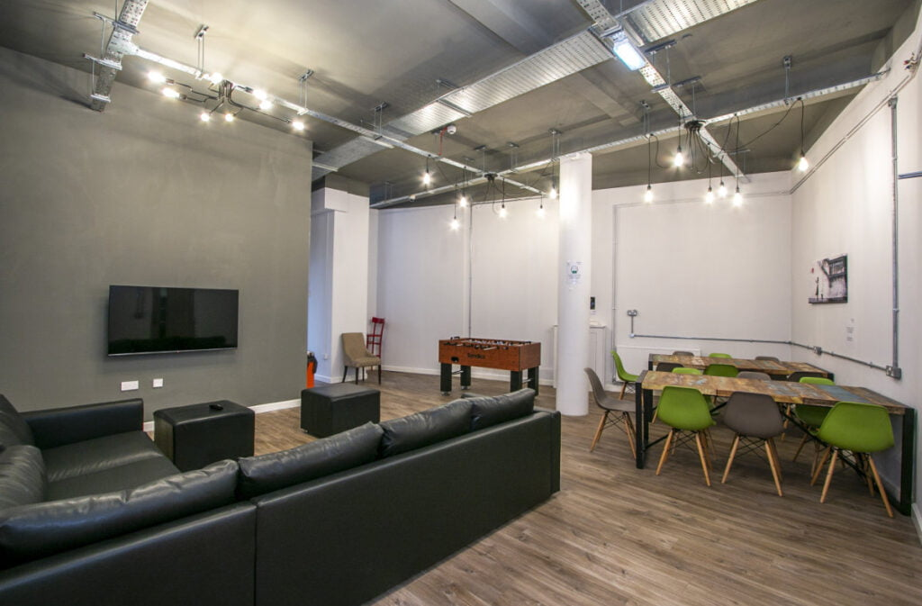 A picture of the common room in Winton Halls, a block of student accommodation in Bournemouth