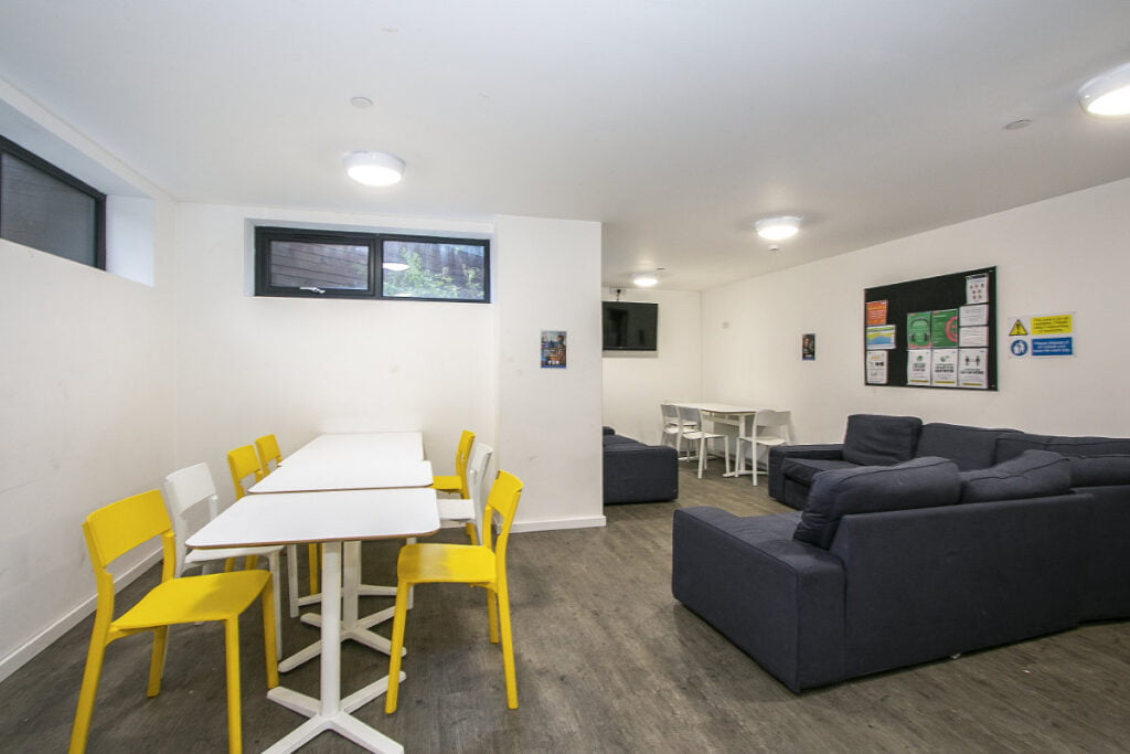 A picture of the common room in The Artisan, a block of student accommodation in Bournemouth.